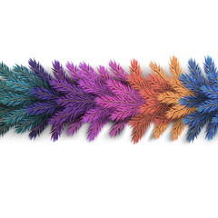 Realistic, detailed New Year's garland made of colorful pine tree branches to create postcards, banners for the site. Realistic xmas decoration elements.