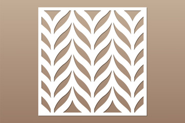 Decorative card for cutting. Leaves foliage feather pattern. Laser cut. Ratio 1:1. Vector illustration.