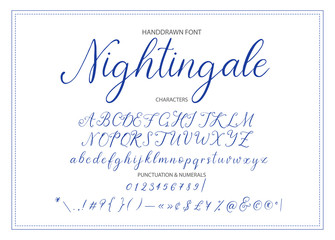 Nightingale. Handdrawn calligraphic vector font.