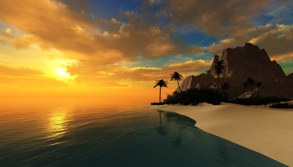 Island in the ocean at sunset, Tropical islands, beautiful seascape,