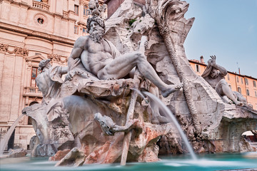 Rome, close up of Fountain of the Four Rivers by Gian Lorenzo Bernini, Italy
