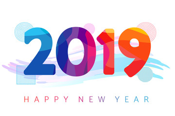 2019 Happy new year futuristic colored greeting card. 2019 New Year on the background of a colorful brushstroke and futuristic design element. Vector illustration