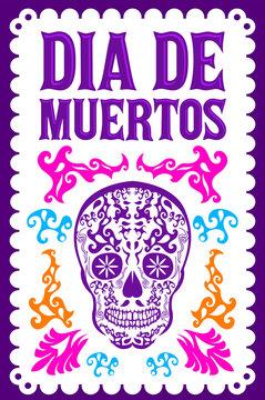Dia de Muertos, Day of the death spanish text colorful vector decoration design