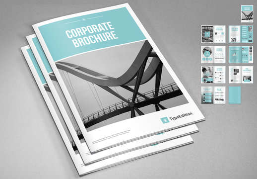 Corporate Brochure Layout with Blue Accents