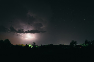 Night summer thunderstorm in the countryside. Night landscape