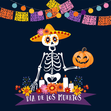 Halloween, Dia de los Muertos greeting card. Mexican Day of the Dead invitation. Skeleton with sombrero hat holding freaky pumpkin. Flowers and candles decoration. Paper cut party flags, light bulbs.