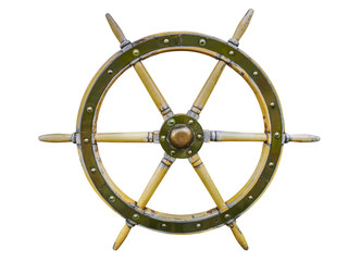 Foto auf Acrylglas Schiff Vintage wooden ship steering wheel rudder isolated on a white background. Old ship vintage, wooden steering wheel isolated on white background