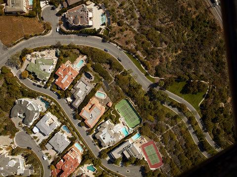 Aerial view luxury neighborhood