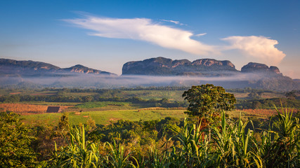 Fields, farms and mogotes in Vinales Valley, Cuba
