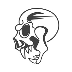 Evil skull side view vector illustration on background
