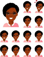 Group of flat cute cartoon avatars air hostess isolated on white background. Set of different african american, european, arab avatar stewardess in colorful flat style.