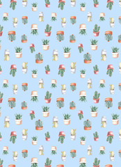 watercolor seamless pattern of cacti and succulents. watercolor background