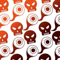 halloween eye and skull icon pattern