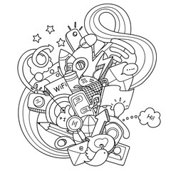 Doodles social media. Technology objects with doodle wave for coloring and design. Easy to change colors. Vector illustration.