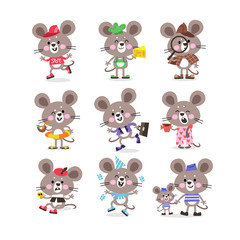 Cute mouse set on vacation running for business with cheese and doing sports