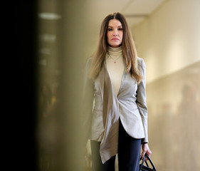 Former model Janice Dickinson returns to the courtroom during the lunch break in the sexual assault trial sentencing hearing for entertainer Bill Cosby at the Montgomery County Courthouse