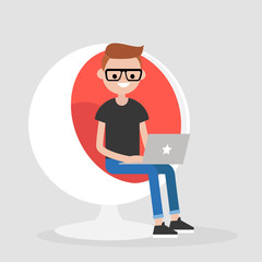 Millennial character sitting in a sphere chair and holding a laptop. Office Interior. Manager at work. Flat editable vector illustration, clip art