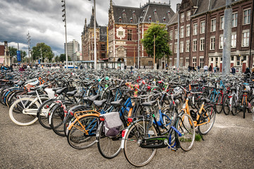 Hundreds of locked up bicycles
