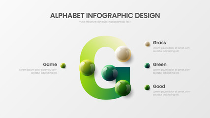 Amazing vector alphabet infographic 3D realistic colorful balls presentation. Creative bright multicolor character design illustration layout. Modern art G symbol graphics visualization template.