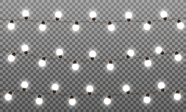Christmas lights vector effects. LED lamps garland for New Year and Xmas. Isolated white lights vector garlands