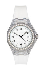 Silver wrist watch isolated with clipping path
