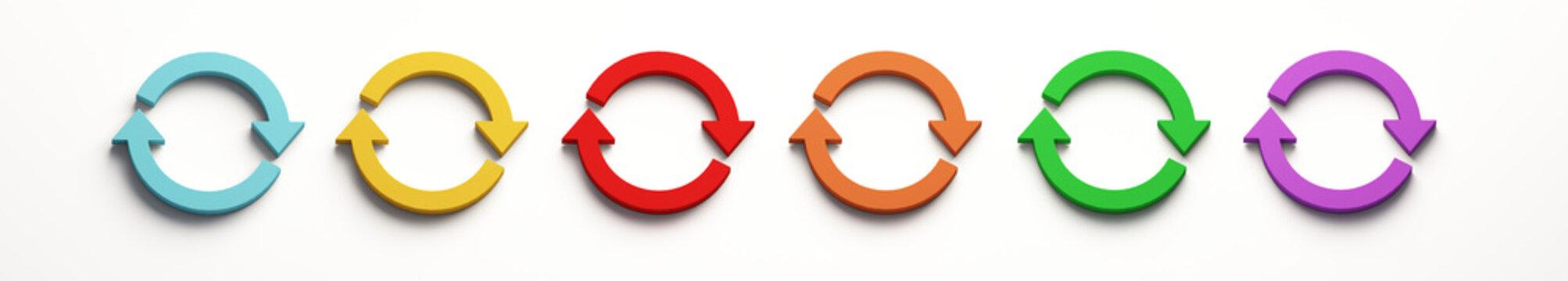 Set of Rotate Symbol. 3D Render Illustration