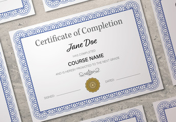 Certificate Layout with Blue Border