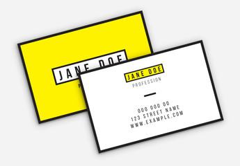 Yellow and White Business Card Layout with Black Borders