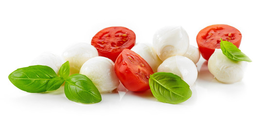 Mozzarella cheese balls with tomato and basil