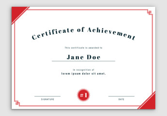 Certificate Layout with Red Double Border