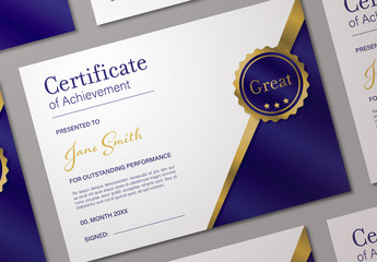 Certificate Layout with Blue and Gold Accents
