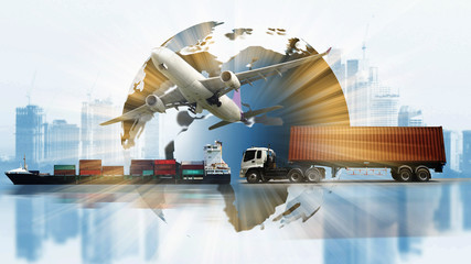 transportation world business,industry of logistic , import export supply or shipping business Wall mural