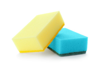 Cleaning sponges for dish washing on white background