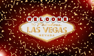 Classic retro gold Welcome to Las Vegas sign on red background. Happy background. Simple modern vector style illustration. Vector colourful serpentine and confetti.