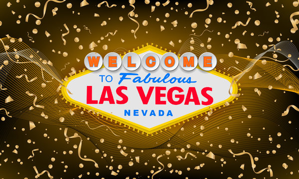 Classic retro Welcome to Las Vegas sign on colorful new year background. Happy new year 2019 gold background. Simple modern vector style illustration. Vector colourful serpentine and confetti.