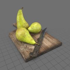 Pears On Cutting Board
