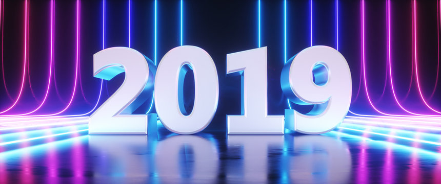 Happy new year 2019 3D Rendering Illustration,Futuristic Sci-Fi Abstract Blue And Purple Neon Light Shapes On Black Background And Reflective Concrete With Empty Space