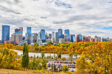 Calgary Downtown Skyline in Autumn Colors