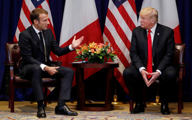 France's President Macron speaks as he holds a bilateral meeting with U.S. President Trump on sidelines of UN General Assembly in New York