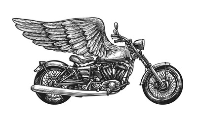 Motorcycle and wings, sketch. Vintage vector illustration