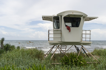 White Life Guard Station On the Shore Palm Beach