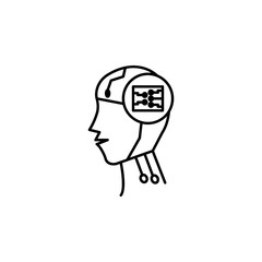 Robot smart brain concept line icon. Simple element illustration. Robot smart brain concept outline symbol design from Robot set. Can be used for web and mobile