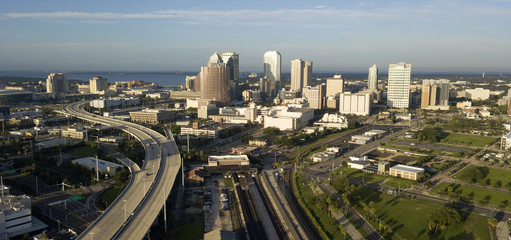 Interstate Highway Leads into Tampa Florida Bay in the Background