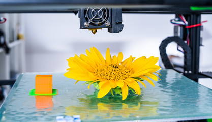 Modern 3D printing. 3d printer mechanism working yelement design of the device during the processes..