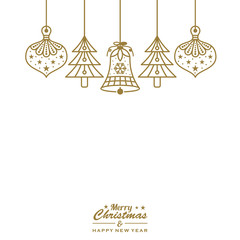 christmas ornament baubles hanging gold isolated background vector illustration