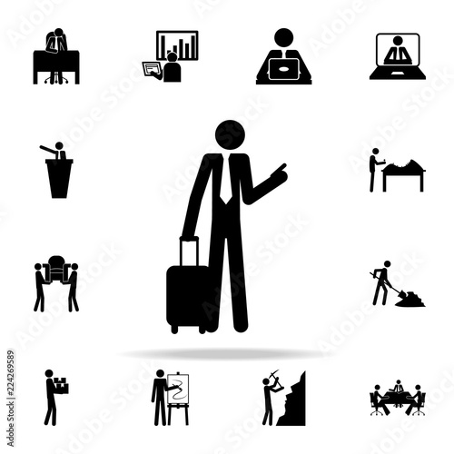 business man on a business trip icon people in work icons universal