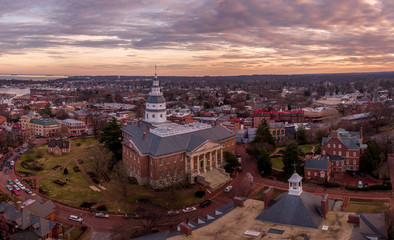 Canvas Prints Cappuccino Annapolis Maryland Capitol Aerial view panorama at sunset