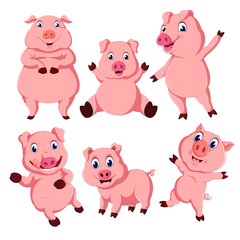 the collection of the pink pig in the different posing