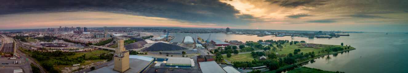 Panorama of Baltimore harbor with Fort Mc Henry national monument