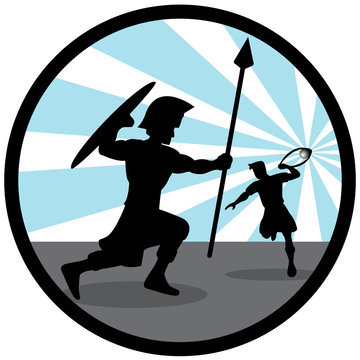 Illustration silhouette of David fighting with Goliath